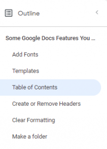 table of content google
